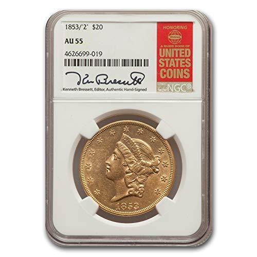1853 / 2 $20 Liberty Gold Double Eagle AU-55 NGC G$20 AU-55 NGC