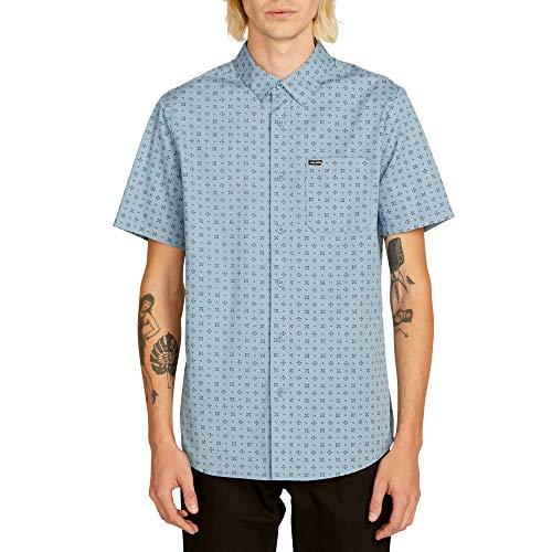 Volcom Men's Salt Dot Short Sleeve Button Up Shirt, Vintage Blue, -
