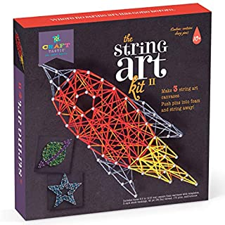 Craft-tastic DIY String Art – Craft Kit for Kids – Everything Included for 3 Fun Arts & Crafts Projects – Space Series Features a Rocket Ship, Planet and Star Patterns