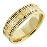 14K Gold Floral Paisley Women's Comfort Fit Wedding Band (7mm)