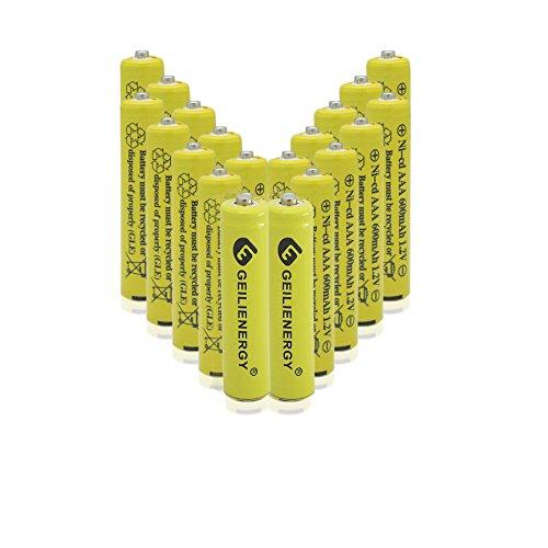 GEILIENERGY NiCd AAA 1.2V 600mAh Triple A Rechargeable Batteries for Solar Light Solar Lamp Garden Light(20 PCS)