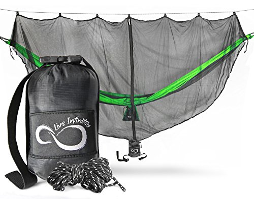 Lightweight Hammock Bug Net by Live Infinitely – 11'Long by 5' Wide- Perfect Mosquito Net To Keeps Out Noseeums, Mosquitos & All Bugs –Universal Fit For All Camping Hammocks- X-L Attached Gear Pouch