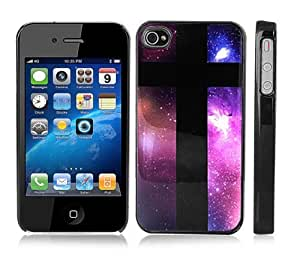 Black Snap-On iPhone Cover Case for 6 4.7 iPhone- Space Galaxy with Black Cross - Height:4.5 Inches X Width: 2.5 Inches X Thickness:0.5 Inches.