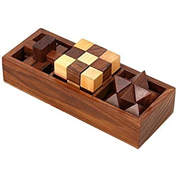 3 In One Wooden Puzzle Games Set