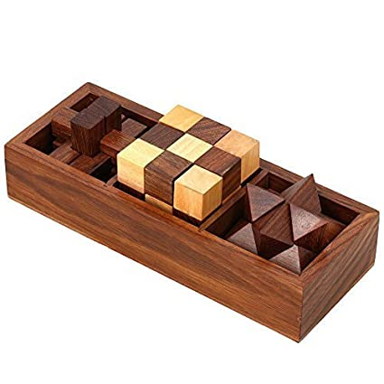 amazon com 3 in one wooden puzzle games set 3d puzzles for teens