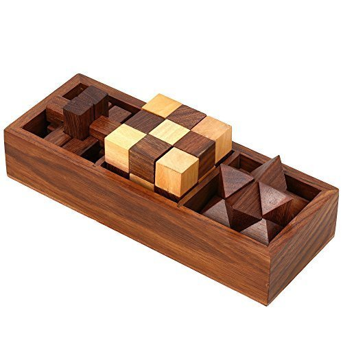 3-in-One Wooden Puzzle Games Set - 3D Puzzles for Teens and Adults - Includes Wood Interlocking Blocks, Diagonal Burr, and Snake Cube in Storage Box by ShalinIndia