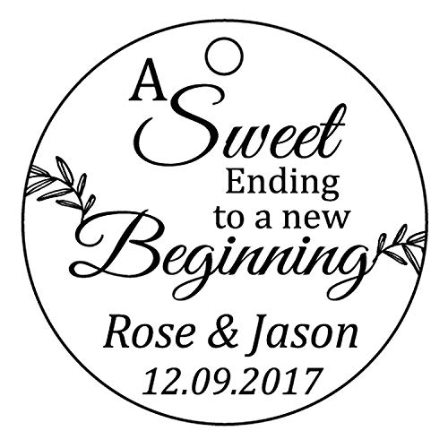 100 PCS A Sweet Ending To A New Begnning Circle Hang Tags Personalized Wedding Favor Gift Tags -