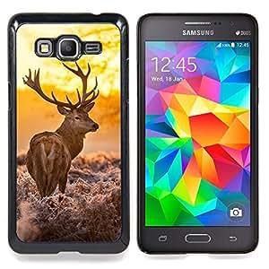 """Ciervo Whisky cuernos de venado Potente Caza"""" - Metal de aluminio y de plástico duro Caja del teléfono - Negro - Samsung Galaxy Grand Prime G530F G530FZ G530Y G530H G530FZ/DS"""
