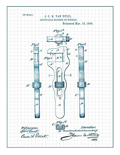 Adjustable Wrench Patent Print Art Poster Blue Grid  M14836