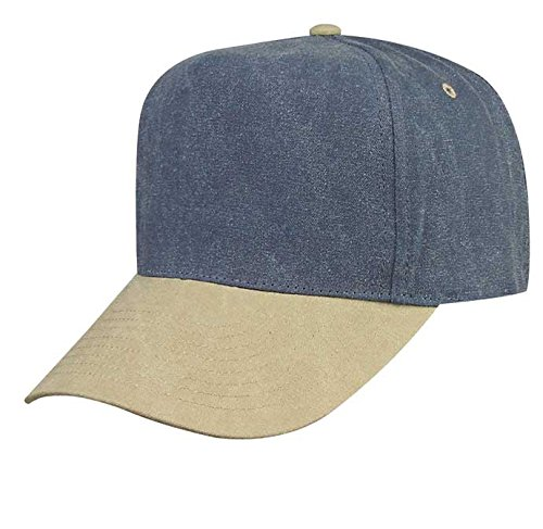 Mens Pigment Dyed Washed Cotton Cap - Adjustable Hat Unstructured (Stone Washed Khaki Indigo (Stone Colored Cap)