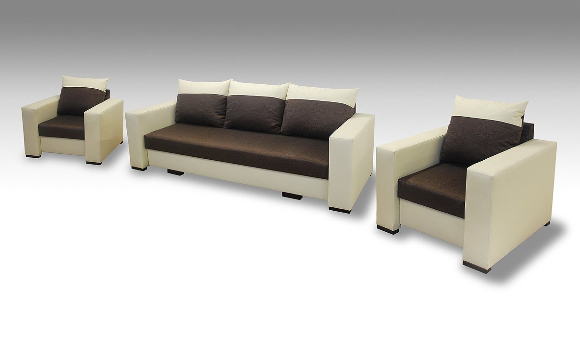 Delta 3-Sitzer 3er Sofa Couch mit Schlaffunktion und 2 Sessel, für Wohnzimmer, Schlafcouch, Farbe / Stoffe Freie Auswahl
