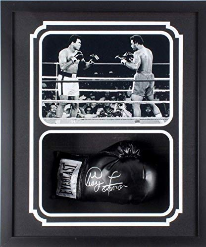 George Foreman Signed Autographed Glove Shadow Box Frame Authen B B&W JSA Certified Autographed Boxing Gloves