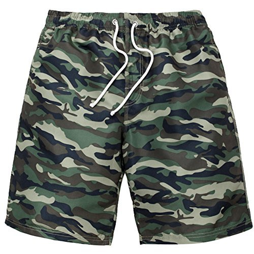 sandbank Men's Camouflage Swimtrunks Bathing Suit Board Shorts No Mesh Lining (Army Green, (Camouflage Trunk)