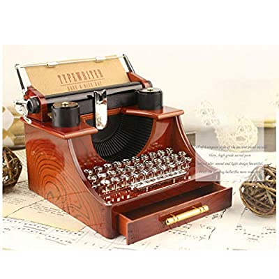Yeefant Mini Retro Creative Typewriter Clockwork Music Box Fun Interesting Toy Kids Gift Wooden Music Box Classic Antique Carved Wood Musical Boxes Birthday Christmas Gift Toy for Kids Children: Office Products