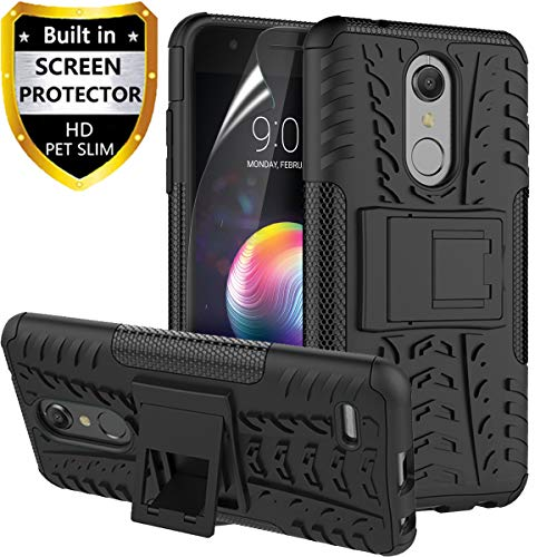 RioGree Phone Case for LG K10 2018/LG K30/LG Phoenix Plus/LG CV3 Prime/Premier Pro LTE/Harmony 2 Cell Phone Case, with Screen Protector Kickstand Cell Cover Skin, Black (Skin Phone Protector Cover)