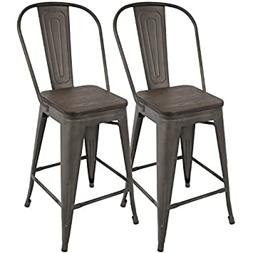 Awesome Woybr Cs Orhb An E2 Steel Bamboo Oregon High Back Counter Stool Set Of 2 Antique Espresso Ocoug Best Dining Table And Chair Ideas Images Ocougorg