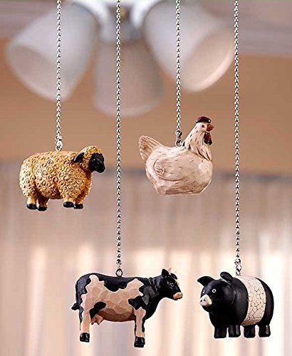 Drawer Farmhouse (Decorative Rustic Country Kitchen Farmhouse Animal Fan Pull Set Cow Sheep Cow Pig)
