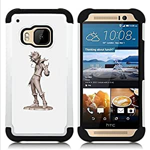 - cool kid tin man grey character cgi japan/ H??brido 3in1 Deluxe Impreso duro Soft Alto Impacto caja de la armadura Defender - SHIMIN CAO - For HTC ONE M9