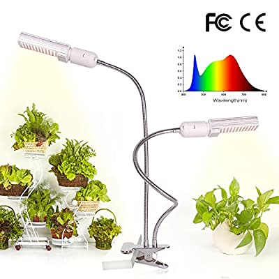 LED Grow Light for Indoor Plant, Relassy 45W Full Spectrum Grow Lamp, Dual Head Gooseneck Plant Ligh with Replaceable Bulb,Double Switch, Professional for Seedling Growing Blooming Fruiting