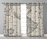 Thermal Insulated Blackout Grommet Window Curtains,Wanderlust Decor,Image of Antique Map America in 1600s World in Medieval Time Ancient Era Decorative,Multi,2 Panel Set Window Drapes,for Living Room