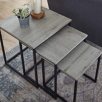 Image of Classic Brands Nesting End Table, Rustic Grey Home and Kitchen