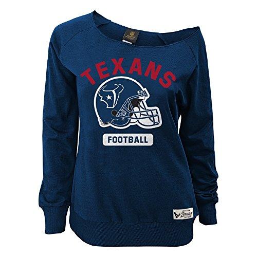 OuterStuff NFL Junior Girls Wide Receiver Long Sleeve Boat Neck Sweatshirt, Houston Texans, Deep Obsidian, L(11-13)