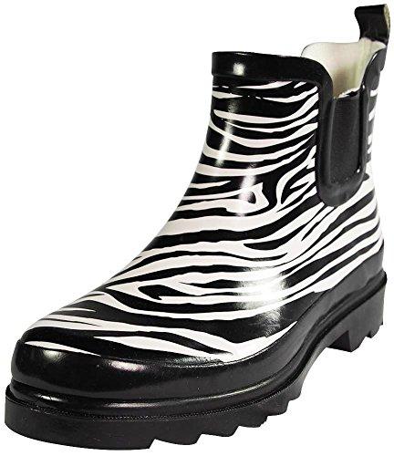 Sunville - Womens Short Zebra Ankle Rubber Rain Boots, Black, White 38757-7B(M) ()