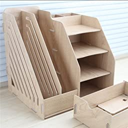 UDTEE 1PCS Multifunctional/Practical/Foldable Natural Color Wooden DIY Desktop Storage/Organizer/File Container for Home/Office