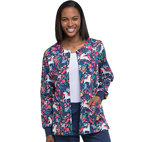 Dickies EDS Signature by Women's Snap Front Warm-up Floral Print Scrub Jacket X-Large Print