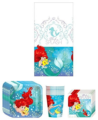 Disney Little Mermaid Princess Ariel Dream Big Birthday Party Supplies Bundle Kit Including Plates, Cups, Napkins and Table cover - 8 Guests