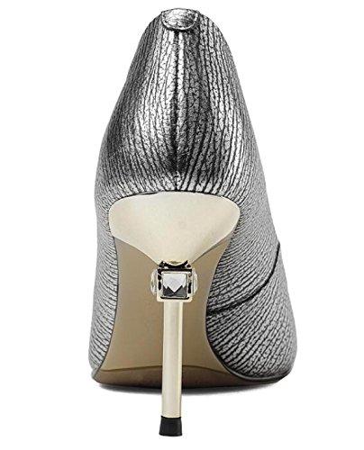 Bassa Donna Scarpe Strass Punta Con Tacco Per Con Basse Stiletti Con In Alto Scarpe Pelle Punta Silver A Scarpe Zeppa q4wxRxgUt