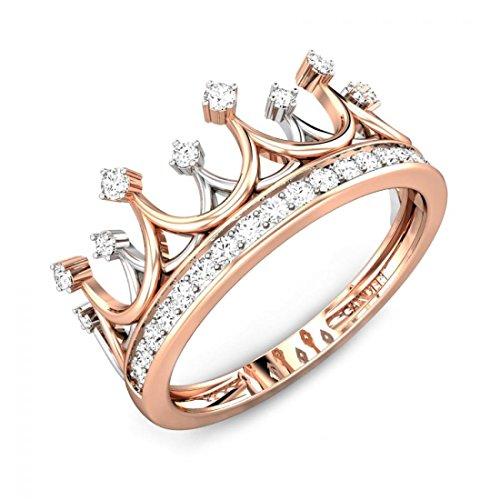 & diamond princess crown ring, IGI certified, I-J, SI1-SI2 (1/5 ctw) (14k White Gold Crown)