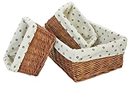 LUXEHOME Elegant Willow Wicker Storage Basket With Liner, Set of 3(2#)