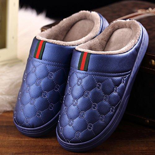 CWAIXXZZ pantofole morbide Paio di pantofole di cotone uomini pelle pu di spessore impermeabile home home interno anti-slittamento su le pantofole caldo inverno ,40-41 adatto a grandi (39-40), blu
