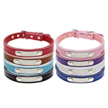 """Custom Engraved Leather Dog Collar for Medium & Large Dogs / Personalized Dog Name Plated Collars with Soft Padded / L Neck Adjusts for 14.5-18.5"""" / 8 Colors Available - Vcalabashor™"""