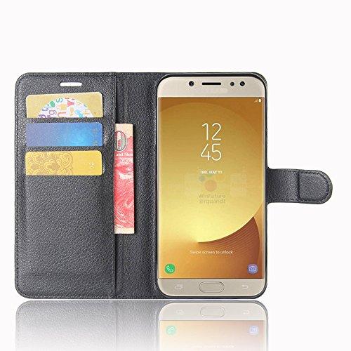 Cover Samsung Galaxy J7 (2017) J730 TOTOOSE Bark Grain Pattern PU Funda de cuero Cierre magnético Flip Stand Cover con ranuras para tarjetas Para Samsung Galaxy J7 (2017) J730 -púrpura negro