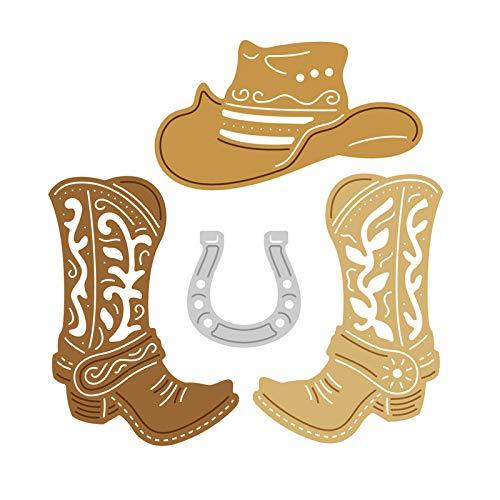 ShineBear Cowboy Aceessories Metal Cutting Dies Scrapbooking Craft Die Cut Horseshoe Shoe hat Paper Card Stencil die Template - Die Horseshoe
