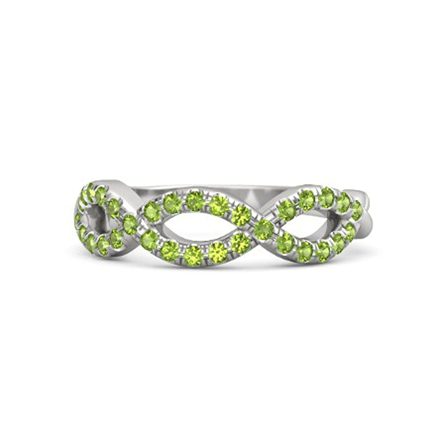e08e7d4b6 RS JEWELS Beautiful Engagement Eternity Created Round 0.45ct Peridot 14K  White Gold Plated On Solid .925 Sterling Silver Brilliant Twist Band  Infinity Ring ...