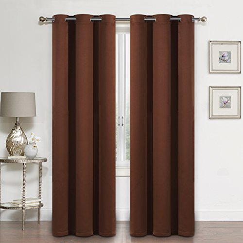 SUO AI TEXTILE Room Darkening Thermal Insulated Blackout Grommet Window Curtains for Living Room (2 pieces set,each 37x84 Inch,CHOCOLATE) (Living Set Room Suede)