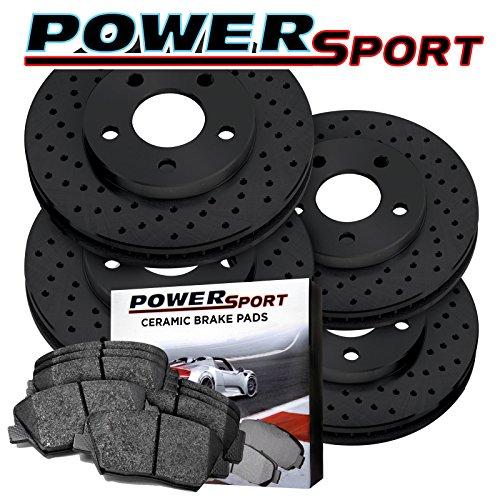 Full Kit Black Drilled Brake Rotors and Ceramic Pads 2002-2004 Jaguar X-Type by Power Sport