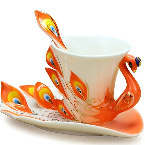 Vanki Collectable Fine Arts China Porcelain Tea Cup and Saucer Coffee Cup Peacock Theme Romantic Creative Present (Orange)
