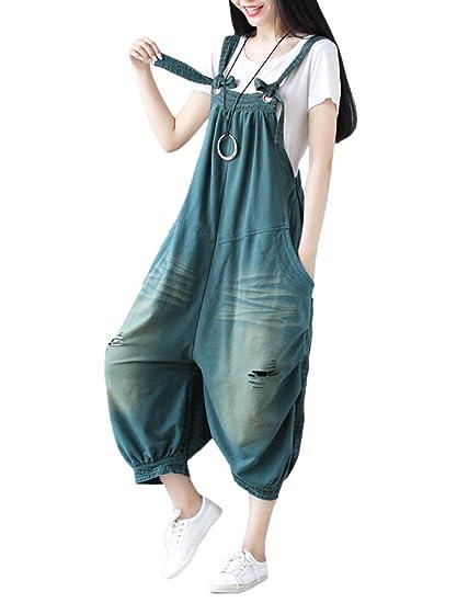 35acdd608896e Mallimoda Women's New Adjustable Strap Harem Jumpsuit Dungarees Pants Style  1-Green