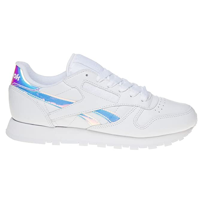 6cc55c3f311 Reebok Classic Leather Iridescent Trainers White 4 UK  Amazon.co.uk  Shoes    Bags