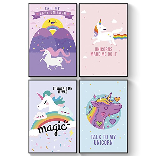 Pillow & Toast Unicorn Rainbow Wall Art, Set of Four Posters for Girls Bedroom Decor, Art Prints Teen Room Decorations, College Student Gift for Bedroom
