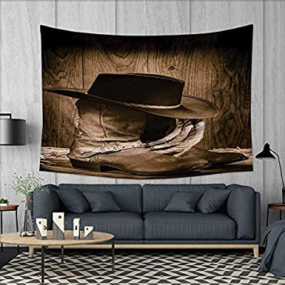 2bf7ccb748421 Anhuthree Western Tapestry Table Cover Bedspread Beach Towel Wild West  Themed Cowboy Hat and Old Ranching Rope On Wooden Display Rodeo Cowboy  Style Dorm ...