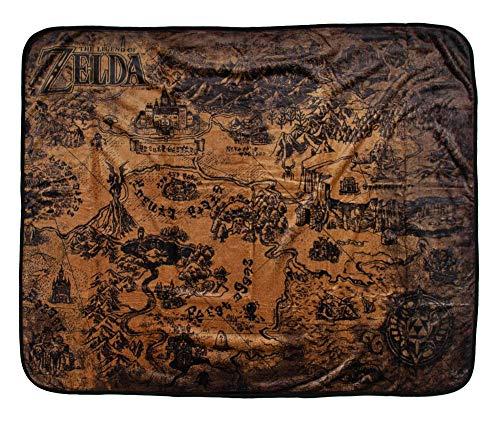 "Price comparison product image Bioworld Legend of Zelda Hyrule Map Video Game Plush Throw Blanket 48"" x 60"" (122cm x 152cm)"