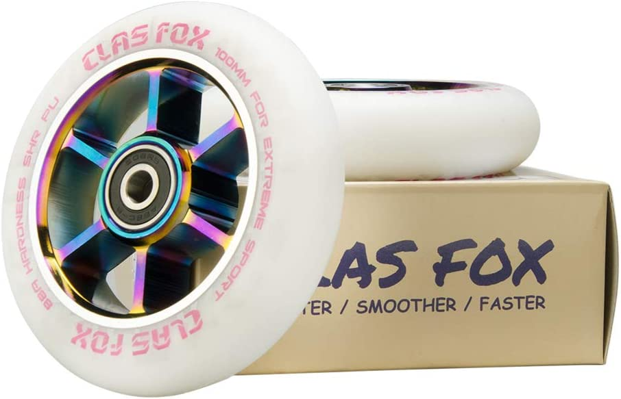 CLAS FOX 110mm One Pair Pro Stunt Scooter Wheels with ABEC-9 Bearings CNC Metal Core 2pcs