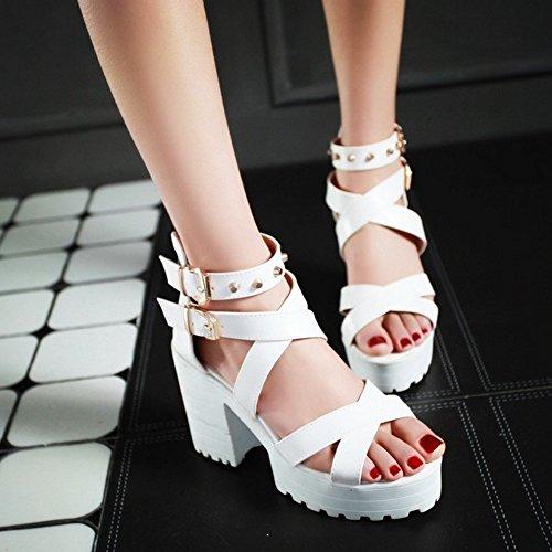 COOLCEPT Mujer Moda Correa al Tobillo Sandalias Punta Abierta Tacon Ancho Zapatos Blanco