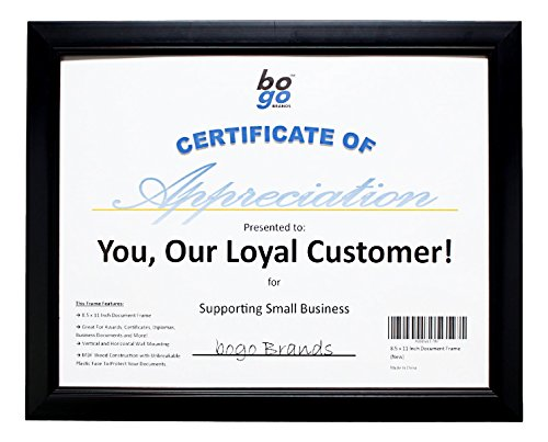 8.5 x 11 Inch Document Frame for Certificates Awards & More by bogo Brands (25-Pack) by bogo Brands