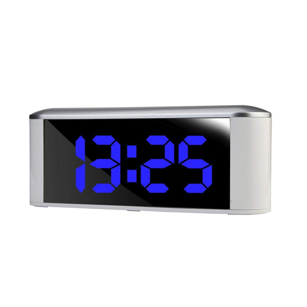 Bluetooth Wireless Speaker with Dual Alarm Clock, Digital FM Radio,Thermometer, Large Mirror LED Dimmable Display for Hotel,Home,Office,Bedroom,Travel (Blue)